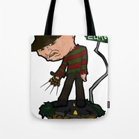 freddy krueger Tote Bags featuring Freddy Krueger Cartoon by BJ Sizemore