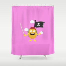 Pineapple Pirate with Flag T-Shirt Dyrdv Shower Curtain