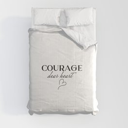Courage Dear Heart CS Lewis Quote, Gifts for Book Lovers, Bookish, Workout, yoga Comforters