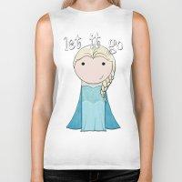 frozen elsa Biker Tanks featuring Elsa: Frozen  by Jen Talley