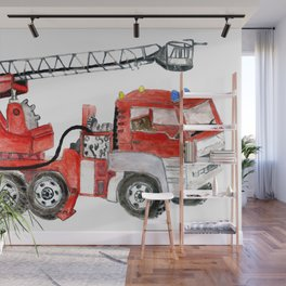 Hand drawn red fire engine, fire truck illustration Wall Mural