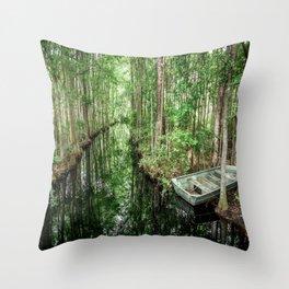Swamp Boat Throw Pillow
