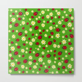 Hand drawn ladybug and flower pattern Metal Print
