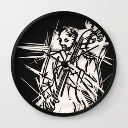 Bossa Pizzicato Jazz Bassist Black and White Block Print Wall Clock
