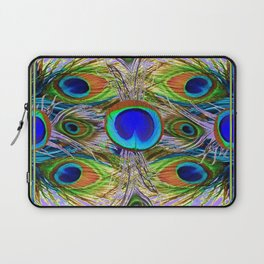 NOUVEAU BLUE-GREEN PEACOCK FEATHERS ON LILAC Laptop Sleeve