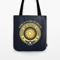 pacific rim Tote Bags featuring Pacific Rim Defense Academy by fishbiscuit