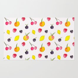 Fruit Salad - Watercolor & Ink Pattern Rug