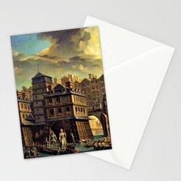 18th Century Paris, France along the River Seine by Jean Baptiste Nicolas Raguenet Stationery Cards
