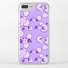 Bubbles and Bats Purple Clear iPhone Case