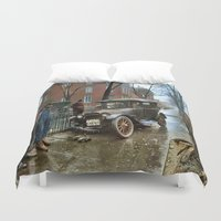 jewish Duvet Covers featuring Rainy Day, Washington, D.C. by Brown Eyed Lady