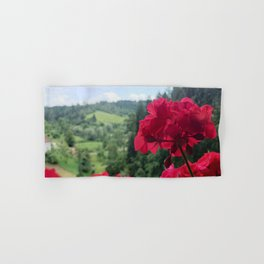 Geranium outside the window photography Hand & Bath Towel