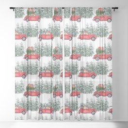 Corgis in car in winter forest Sheer Curtain