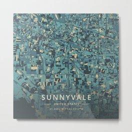 Sunnyvale, United States - Cream Blue Metal Print