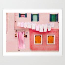Laundry Day in Burano Italy Art Print