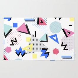 Memphis Style 80s Nostalgia design - White Background Rug