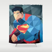 dc comics Shower Curtains featuring DC Comics Man of Steel by Eric Dufresne