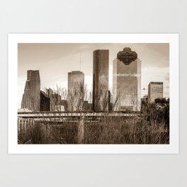 Sepia Houston Texas City Skyline Through Barren Trees Art Print