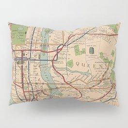 New York City Metro Subway System Map 1954 Pillow Sham