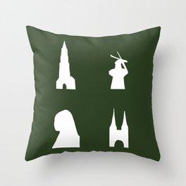 Delft silhouette on green Throw Pillow