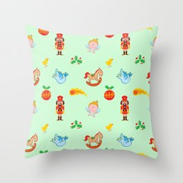 Nutcracker, rocking horse, angel and bird Christmas pattern Throw Pillow