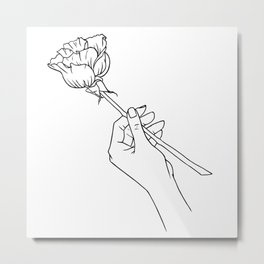 Rose in Hand Metal Print