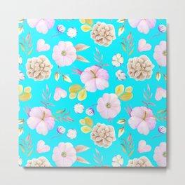 Artist hand painted pink lavender teal watercolor floral Metal Print