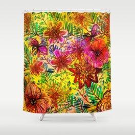 Tropical Hot Heat Flower Hibiscus Garden Shower Curtain