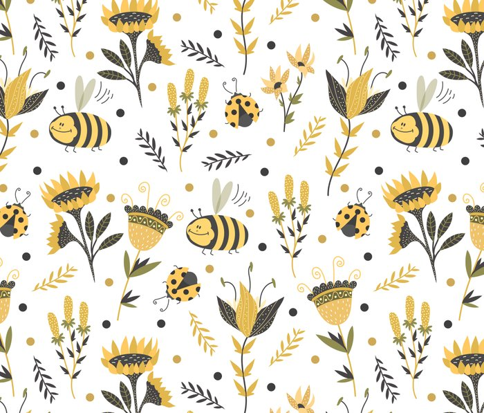 Bees and ladybugs. Gold and black Travel Mug