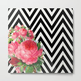 FLORAL BLACK AND WHITE CHEVRON Metal Print