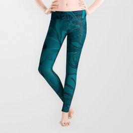 Metallic Teal Floral Pattern Leggings