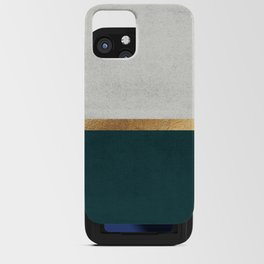 Deep Green, Gold and White Color Block iPhone Card Case