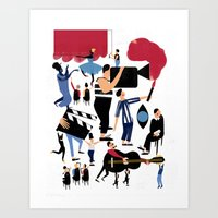 it crowd Art Prints featuring CROWD by Michela Buttignol