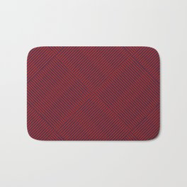Criss Cross Blue Weave on Red Bath Mat