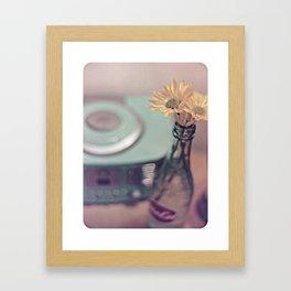 daisies with vintage radio Framed Art Print