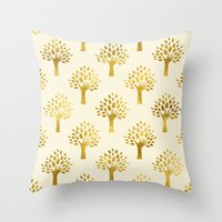 gold foil Throw Pillows featuring Cream Gold Foil 02 by Aloke Design
