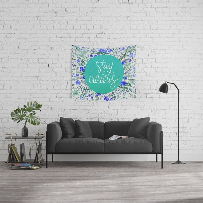 Stay Curious – Navy & Turquoise Wall Tapestry