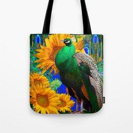 GREEN PEACOCK & GOLDEN SUNFLOWERS  GREEN MODERN ART Tote Bag