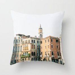 Travel photography | Architecture of Venice | Pastel colored buildings and the canals | Italy Throw Pillow