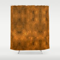 gold foil Shower Curtains featuring Gold Foil 10 by Tami Cudahy