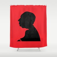 hitchcock Shower Curtains featuring Hitchcock by Vincent Caduc