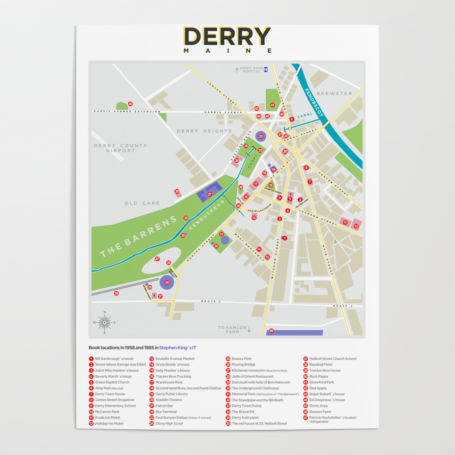 Derry Map (It, Insomnia   ) Poster by locodog