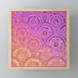 Pink Purple and Gold Sparkling Faux Glitter Mermaid Circles Framed Mini Art Print