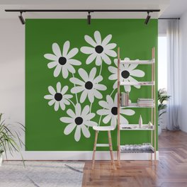 Simple Naive Flowers Green White Wall Mural