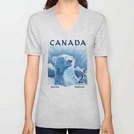 1953 CANADA Polar Bear Postage Stamp Unisex V-Neck