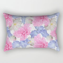 Pink Glads Blue Iris Flowers Large Rectangular Pillow