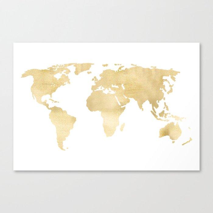 Gold World Map Canvas Print by tangerinetane | Society6