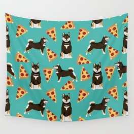 shiba inu pizza black and tan dog breed pet pattern dog mom Wall Tapestry