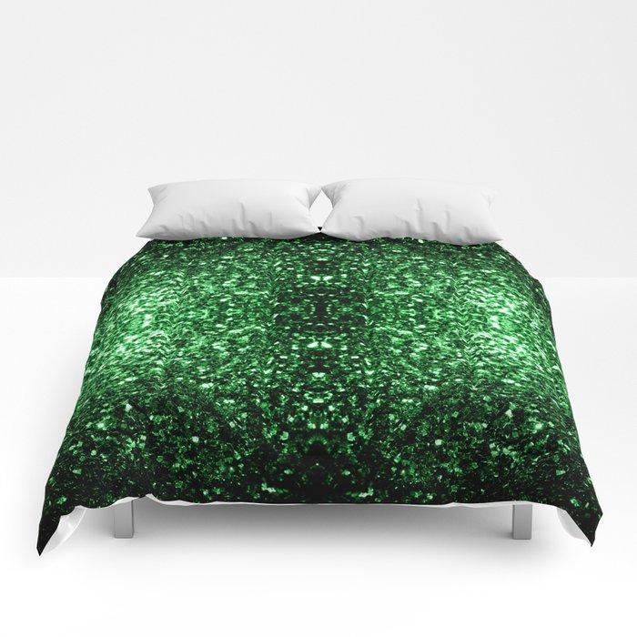 Glamour Dark Green glitter sparkles Comforters