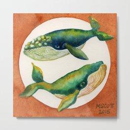 Yin Yang, Blue Whales Metal Print