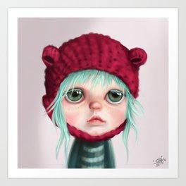 Red bear doll Art Print
